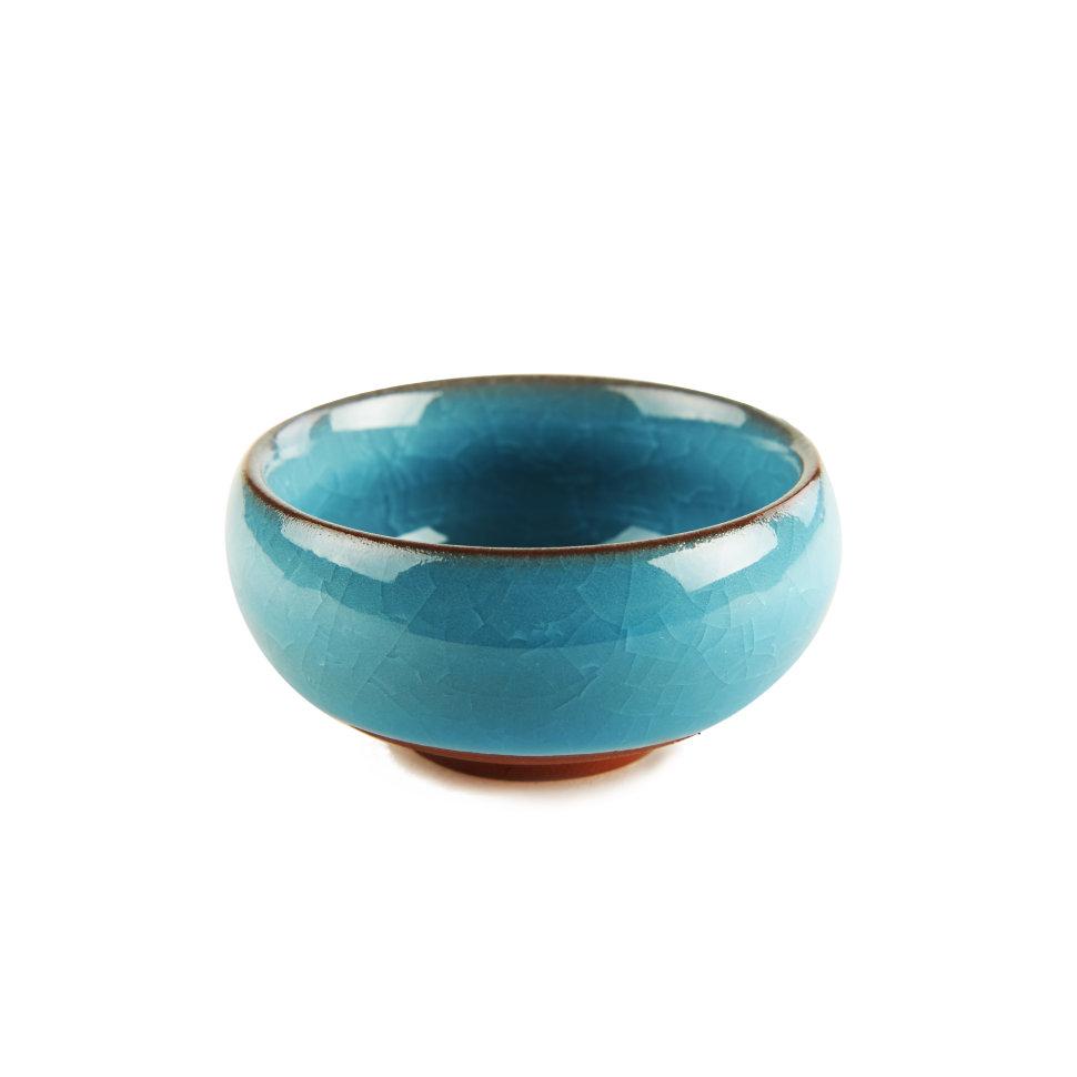 Пиала из обливной керамики Колотый Лед (Лазурная), 40 мл