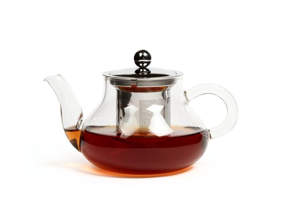 Чайник из жаропрочного стекла Годжи с заварочной колбой из металла, 550  мл