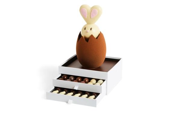 Шоколад PIERRE MARCOLINI, НАБОР 2 уровня + КРОЛИК - ассорти 30 яиц + 30 животных, 1150г