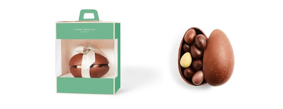Шоколад PIERRE MARCOLINI, ЯЙЦО малое - молочный шоколад + ассорти 12 яиц, 210г