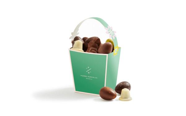 Шоколад PIERRE MARCOLINI, КОРЗИНКА зеленая - ассорти 12 яиц + 4 животных, 146г