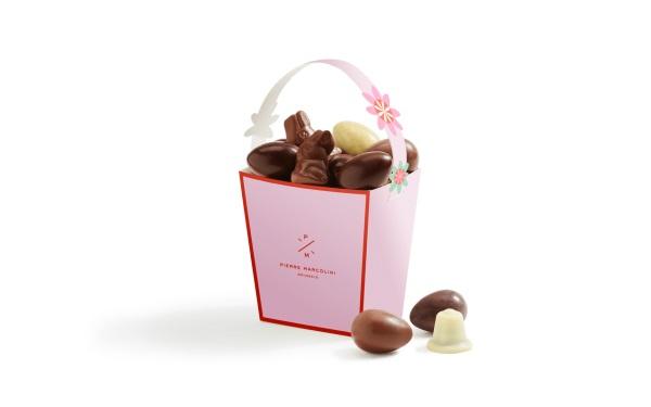 Шоколад PIERRE MARCOLINI, КОРЗИНКА розовая - ассорти 12 яиц + 4 животных, 146г
