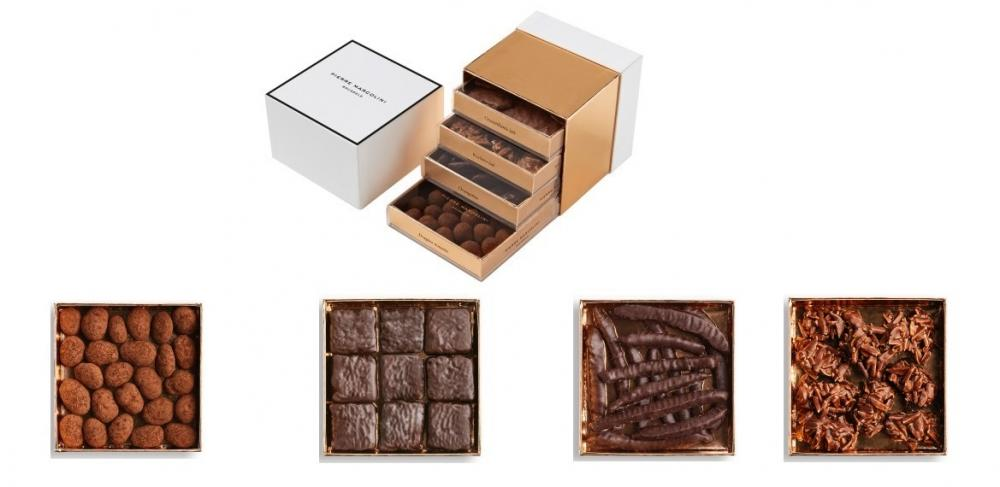 Шоколад PIERRE MARCOLINI в коробке ярусами, НАБОР 4 уровня - ассорти - 4 вида,  400г