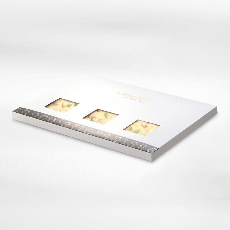 Шоколад белый в коробке (фисташка, миндаль, апельсин) LADERACH, 950г