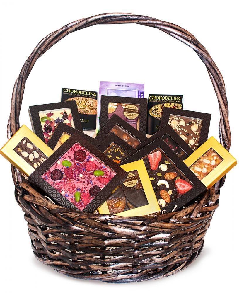 Подарочная корзина шоколада, конфет Chokodelika Круглая №1, 1115г