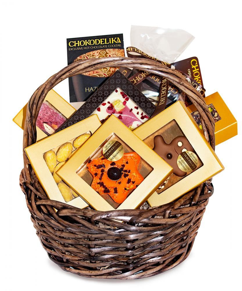 Подарочная корзина шоколада, конфет Chokodelika Круглая №4, 370г