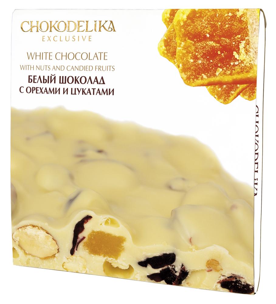 Неровный белый шоколад с орехами и цукатами, 160 гр