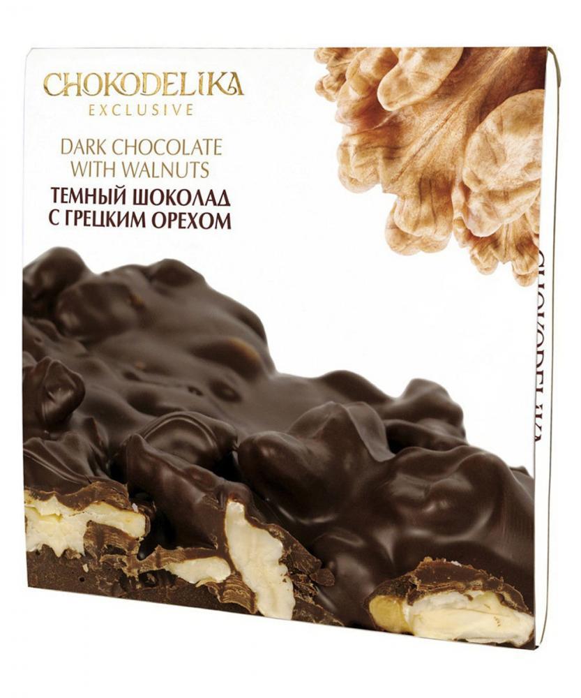 Неровный темный шоколад с грецким орехом, 160 гр