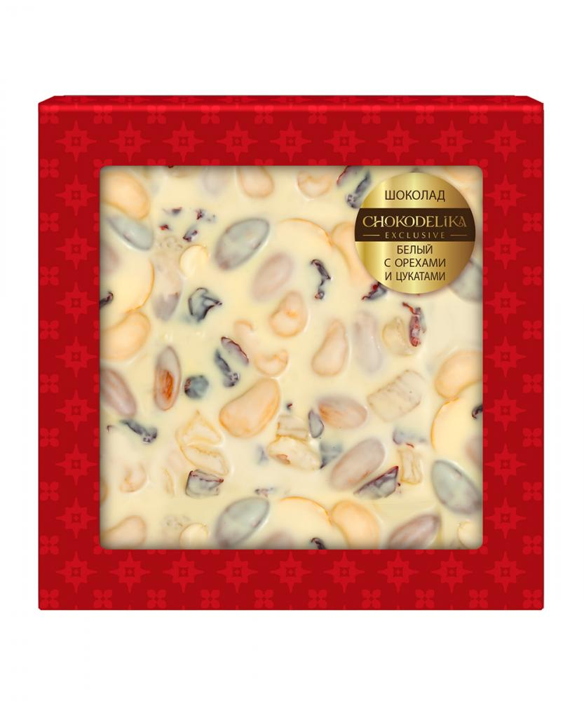 Шоколад белый с орехами и цукатами, 80 гр, блистер