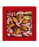 Узорный шоколад Клубника и миндаль, 80 гр, блистер