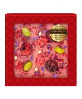 Шоколад белый с украшением Малина, фисташки и вишня, 75 гр, в блистере