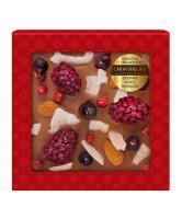 Шоколад молочный с украшением Ежевика, кокос и миндаль, 75 гр, в блистере