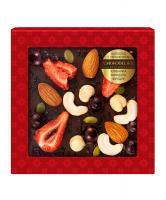 Шоколад темный с украшением Клубника, миндаль и фундук, 75 гр, в блистере