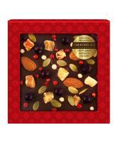 Шоколад темный с украшением Смородина, миндаль и папайя, 75 гр, в блистере
