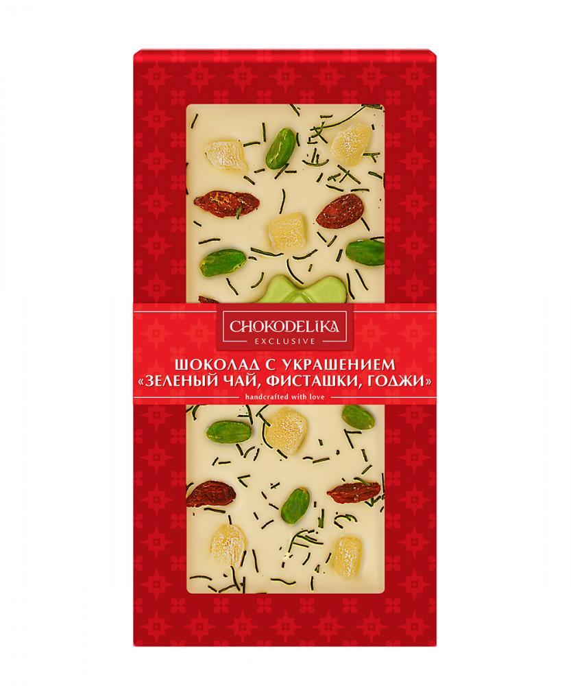 Шоколад белый с украшением Зеленый чай, фисташки и годжи, 100 гр, в блистере