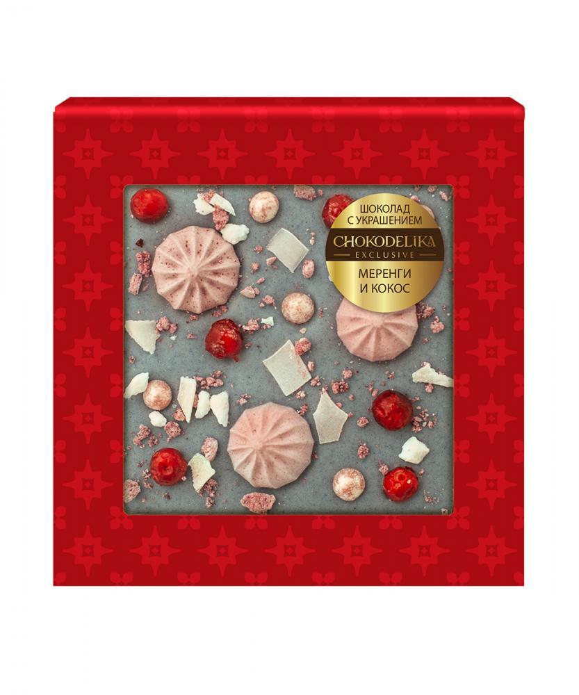 Шоколад белый с украшением Меренги и кокос, 35 гр, в блистере