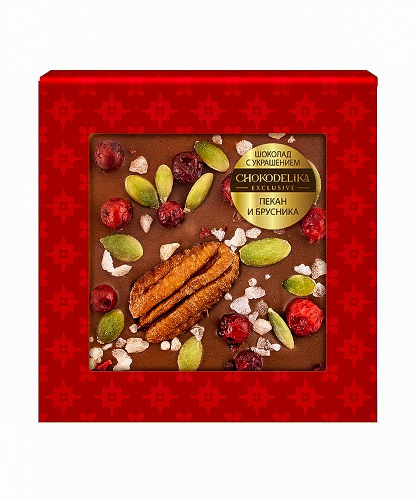 Шоколад молочный с украшением Пекан и брусника, 35 гр, в блистере