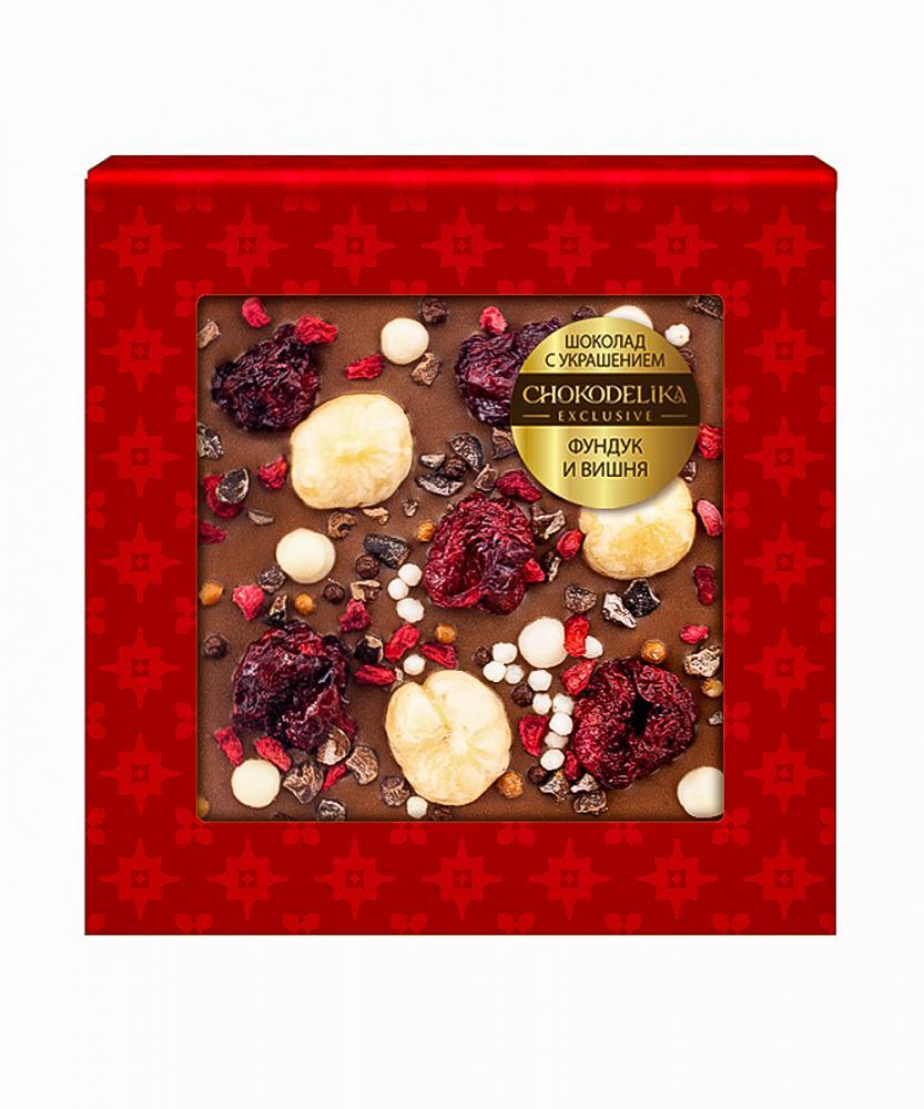 Шоколад молочный с украшением Фундук и вишня, 35 гр, в блистере