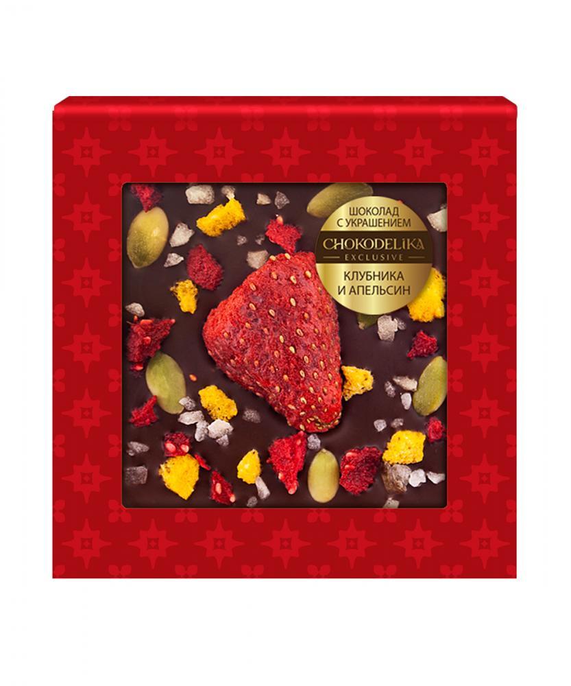 Шоколад темный с украшением Клубника и апельсин, 35 гр, в блистере