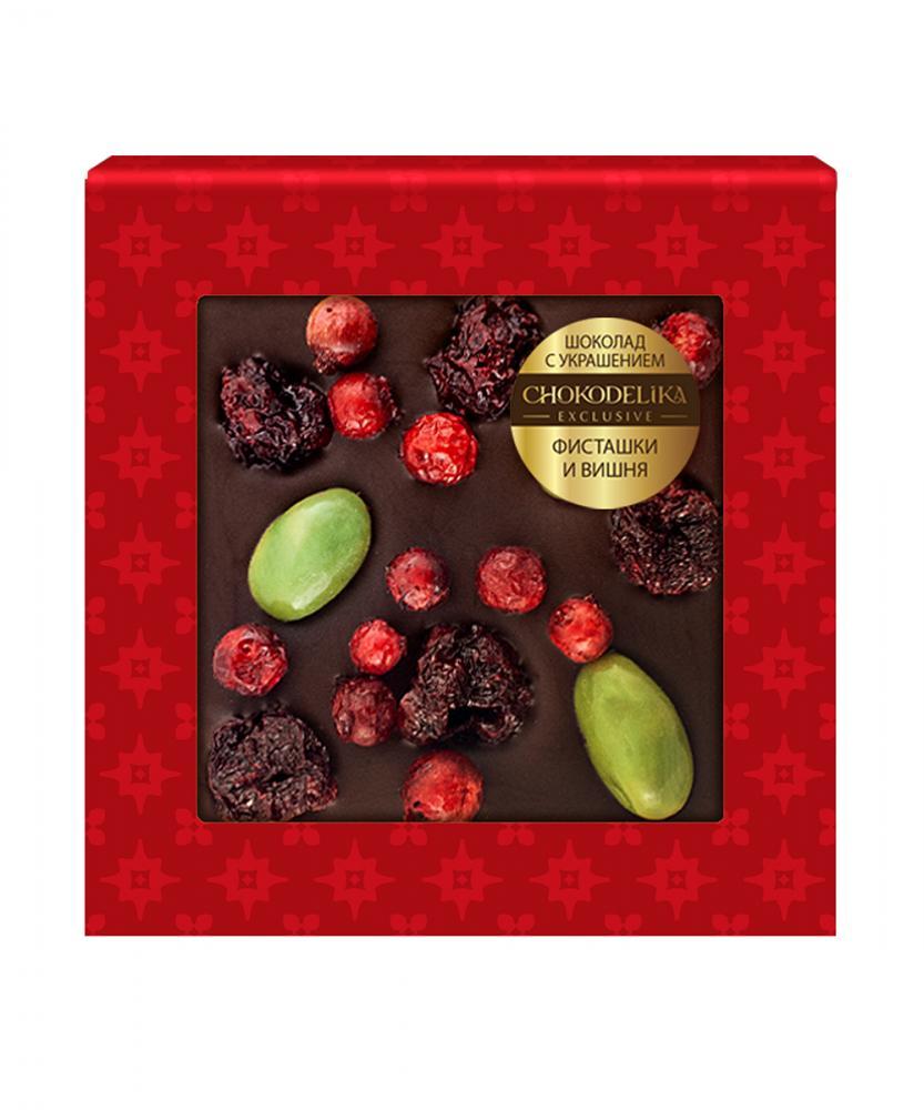 Шоколад темный с украшением Фисташки и вишня, 35 гр, в блистере