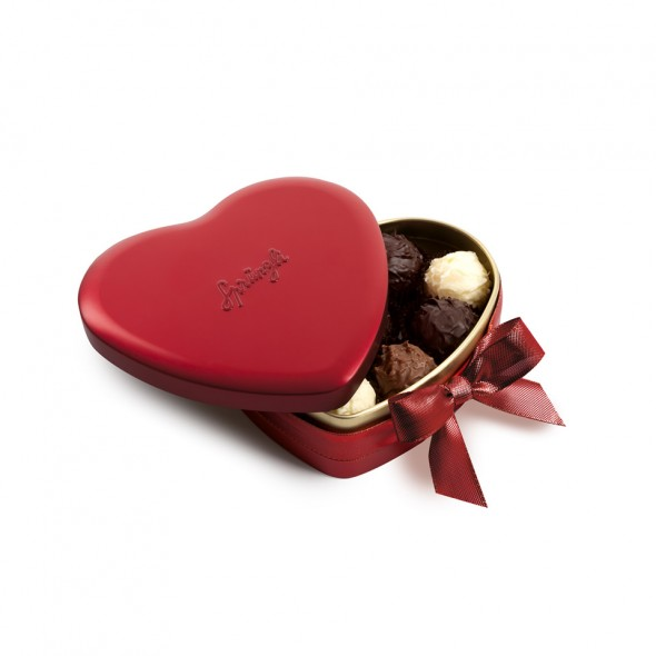 Шоколадные конфеты трюфели Heart Tin Red 10шт, SPRUNGLI, 120гр