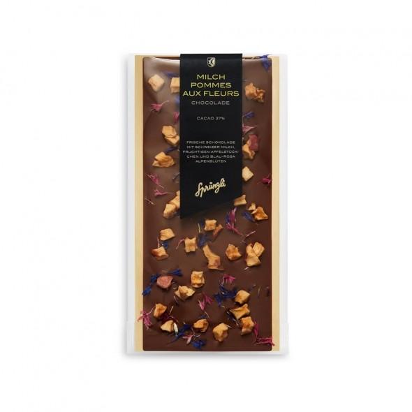 Шоколад молочный 37% яблоко, альпийские цветы SPRUNGLI, 130гр