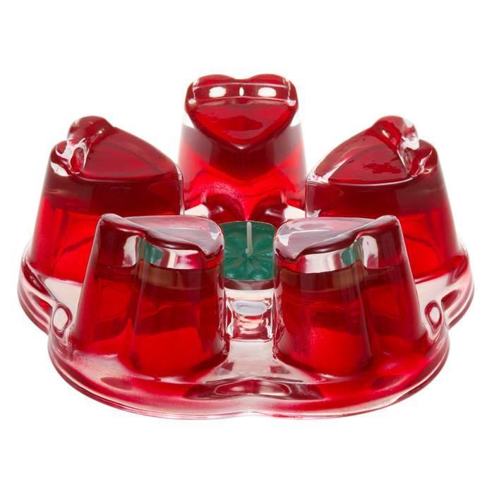 Подставка-подогреватель для чайника Агава красная из жаропрочного стекла, d110mm