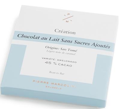 Шоколад без сахара плиточный, молочный No added sugar milk chocolate tablet PIERRE MARCOLINI, 70гр
