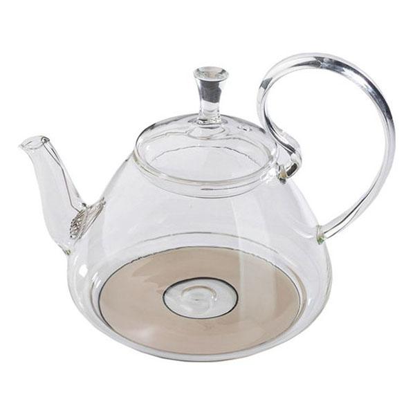 Стеклянный заварочный чайник Георгин большой для индукционных плит, 1200 мл