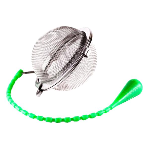 Шарик для заваривания чая с силиконовой ручкой 45 мм в п/у зелёный