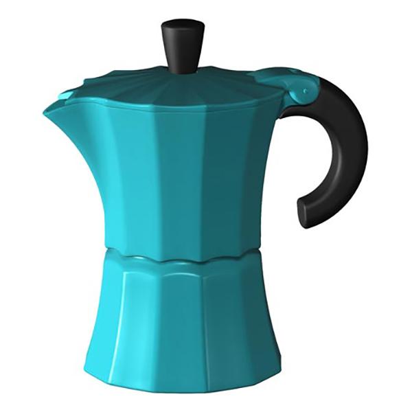 Гейзерная кофеварка Morosina синяя, 150 мл (на 3 чашки)