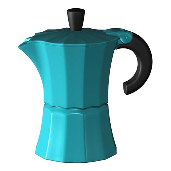 Гейзерная кофеварка Morosina синяя, 300 мл (на 6 чашек)