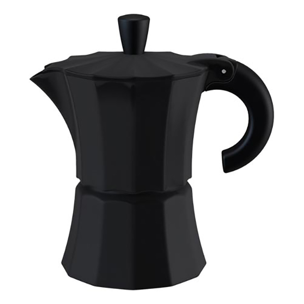 Гейзерная кофеварка Morosina чёрная, 300 мл (на 6 чашек)