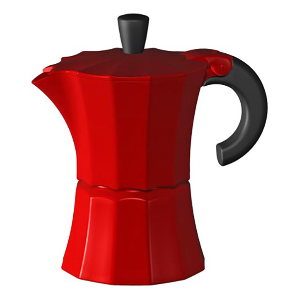 Гейзерная кофеварка Morosina красная, 450 мл (на 9 чашек)