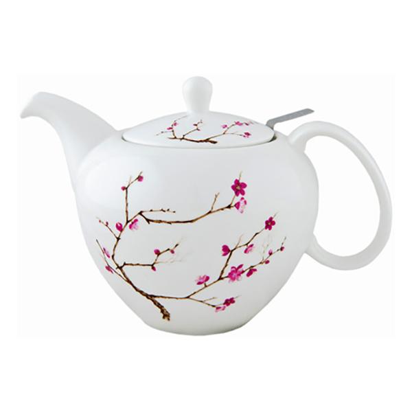 Фарфоровый заварочный чайник Цветущая сакура высокий, 1000 мл