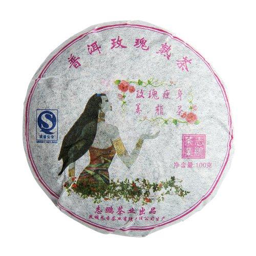 Пуэр Бин Ча с розой, лепешка 100 гр.